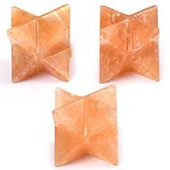 Star Pyramid in Orange Jade - Set of 3