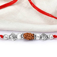 2 mukhi Rakhi with pure silver accessories in thread