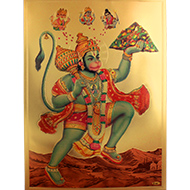 Lord Bajrangbali Photo in Golden Sheet - Large