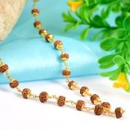 Rudraksha Mala 5mm in gold with flower caps