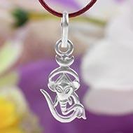 OM Ganesh Locket in pure silver - Design II