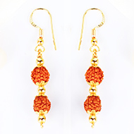 Rudraksha and Gold Earring Set with gold caps and balls - 7mm