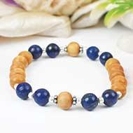 Lapis Lazuli and White Sandal Beads bracelet