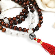 Red Tiger Eye and Moon Stone Beads Mala