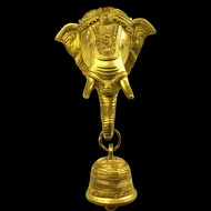 Ganesha Face with Bell Hanging - Wall Artifact