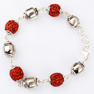 Rudraksha and Parad Bracelet in silver - 10 to 13mm - Design I