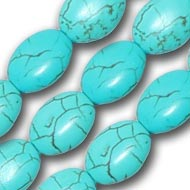 Natural Turquoise Oval Bead Mala