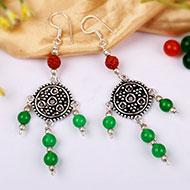 Rudraksha and Green Jade earring - I