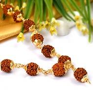 Rudraksha mala - 8 mm in gold polished copper..