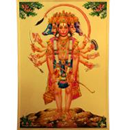 Punchmukhi Hanuman Photo in Golden Sheet - Large