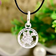 Hanuman Weapon locket in pure silver - I