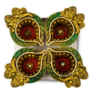 Ganesh Lakshmi Earthen Diya - Set of 4