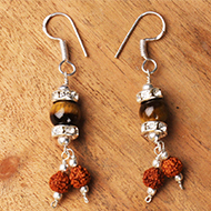 Rudraksha Tiger Eye Earrings -III