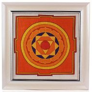 Pratyangira Yantra on silk with frame