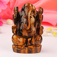 Tiger Eye Ganesha - 160 gms - Right Trunk