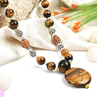 Tiger Eye and Rudraksha beads Mala