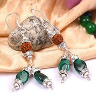 Rudraksha Malachite Earring