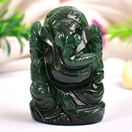 Ganesha in Columbian Green Jade  - 68 gms - I