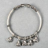 Hanging Ganesh  Designer Kada in Pure Silver - I