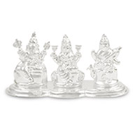 Ganesh Laxmi Saraswati in pure Silver - Small