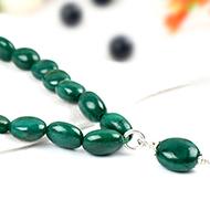 Emerald oval beads mala