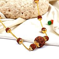 Rudraksha Mala in gold with flower designer caps - 9mm