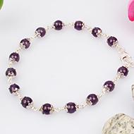Amethyst Bracelet in pure silver flower caps