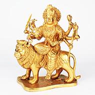 Durga Maa on Lion in Brass