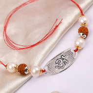 4 Mukhi Rakhi Pearl Beads with pure silver and metal accessories