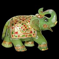 Green Jade Elephant - 979 gms