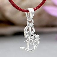Om Locket with Trishul in Pure silver - I