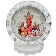 Ganesh Lakshmi Saraswati in silver with frame