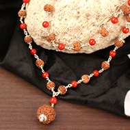 6 mukhi with Coral mala in silver caps