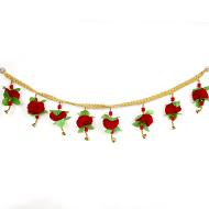 Red Flower Door Bandarwal with Bells
