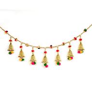 Designer Golden Pearl Door Toran with Bells