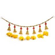 Yellow Marigold Flower Toran with Bells