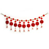 Red Flower Toran with Pearl