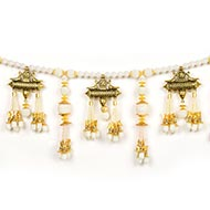 White and Golden Pearl Toran with Ganesha