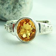 Yellow Citrine Ring in pure silver