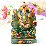 Exotic Ganesh Idol in Green Jade - 334 gms