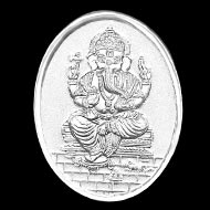 OM Ganesh Oval Shape Pure Silver Coin