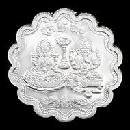 Designer Subh Labh Swastik Shree Laxmi Ganesh Pure Silver Coin