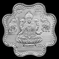 Shree Om Swastik Subh Labh Gajalaxmi Clover Shape Pure Silver Coin