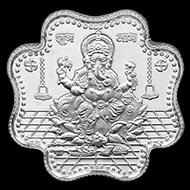 Shree Om Swastik Subh Labh Ganesh Clover Shape Pure Silver Coin