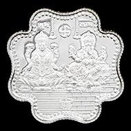 Subh Labh Laxmi Ganesh Shree Om Swastik Clover Shape Pure Silver Coin