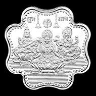 Laxmi Ganesh Saraswati Clover Shape Pure Silver Coin