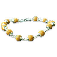 Turmeric Bead Bracelet in sliver wire