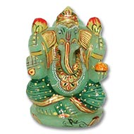 Exotic Ganesh Idol in Green Jade - 228 gms