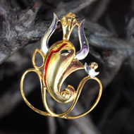 Gold Plated Ganesh Locket Pendant - Design III