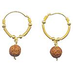 Gold Earrings of Rudraksha Beads - Design II
